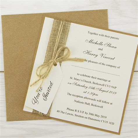 rustic burlap layered square tag wedding invitation pure