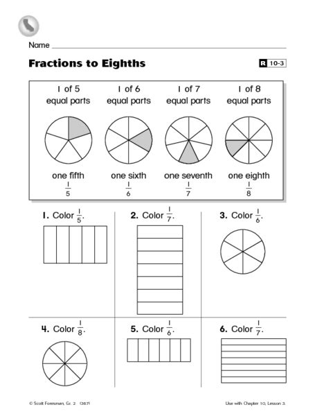 fractions eighths worksheet 2nd grade lesson planet
