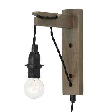 hanging dark wooden wall light black braid cable