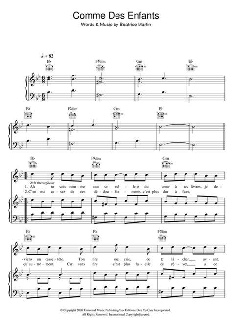 comme des enfants piano sheet music coeur de
