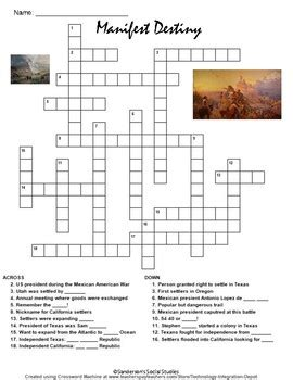 manifest destiny crossword puzzle worksheet sanderson social studies