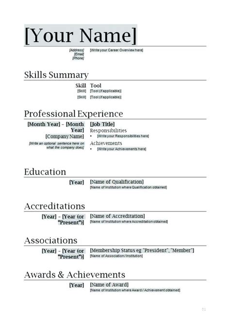 word document resume template word document template download
