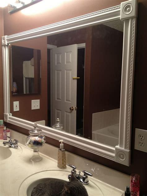 diy bathroom mirror frame white styrofoam molding wood
