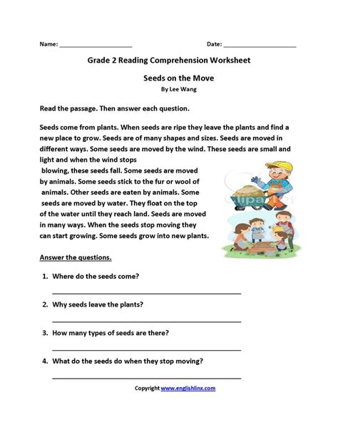 seeds move grade reading worksheets reading comprehension worksheets