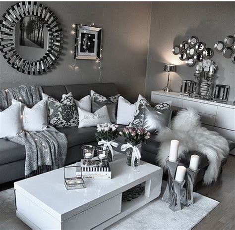 modern living room clean decor white gray silver