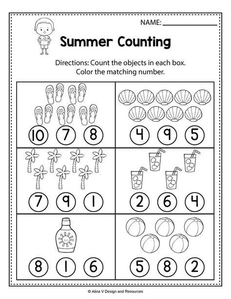 counting worksheets summer math worksheets activities preschool kindergarten