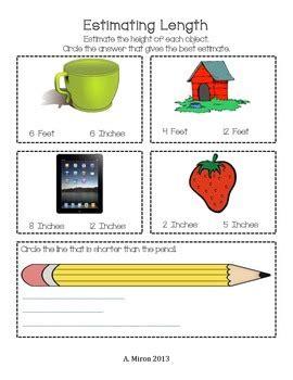 estimating length worksheet adeline miron teachers pay teachers