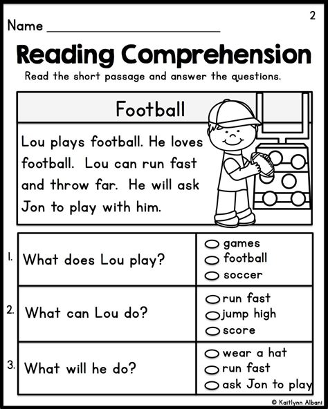 kindergarten reading comprehension passages set 1 reading comprehension