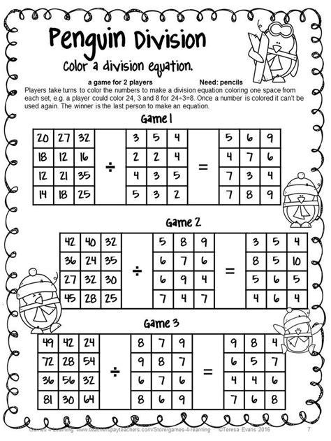 winter activity prep penguin math games multiplication division