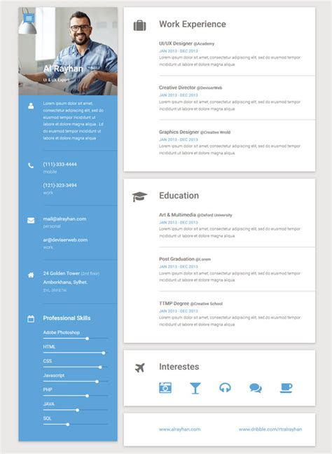54 html resume cv vcard templates free premium