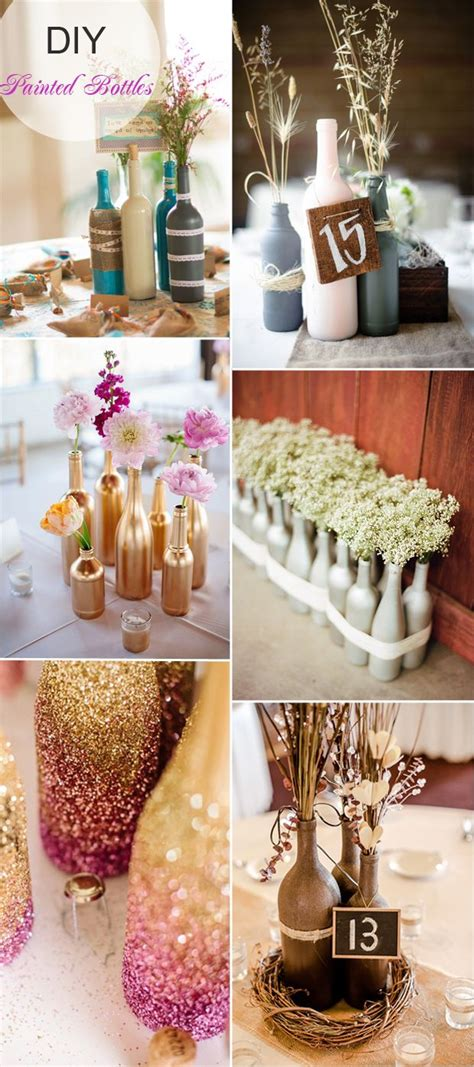diy painted bottles wedding centerpieces flowers wheat rustic