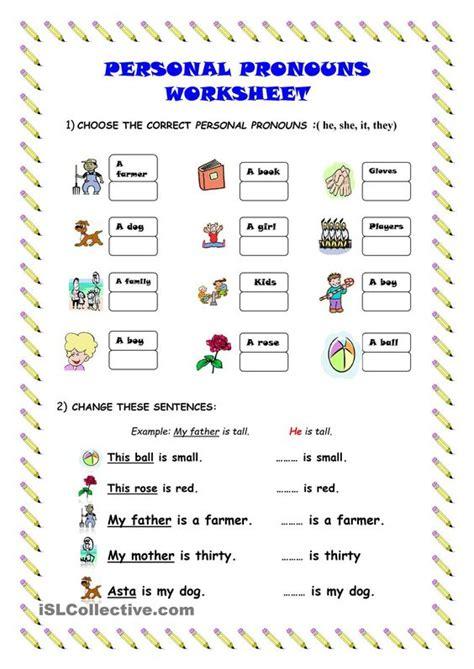 personal pronouns worksheet kindergarten level learn english kids