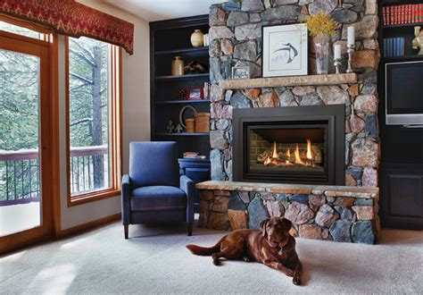 gas insert fireplaces rustic living room metro