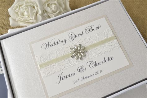 personalised wedding guest book vintage lace jewel creative