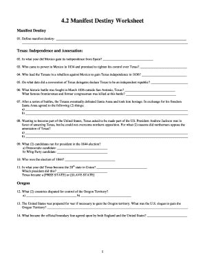 manifest destiny worksheet answer key fill online printable