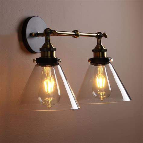 vintage industria wall light double arms rustic sconce