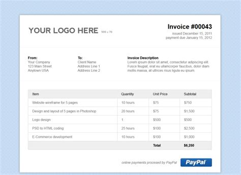 simple html invoice template stationery templates creative market