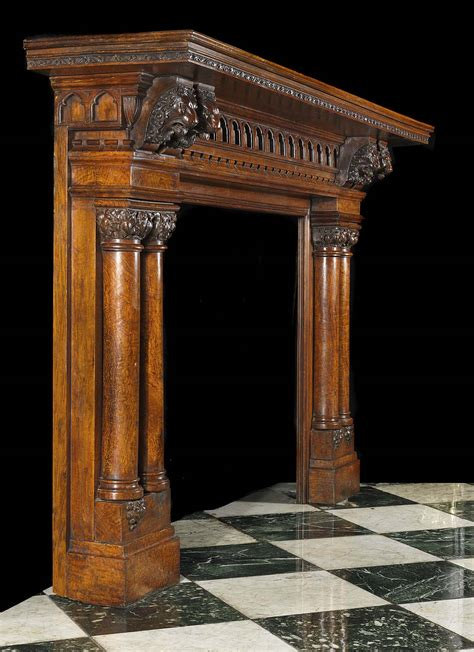 antique carved oak jacobean fireplace mantel small oval
