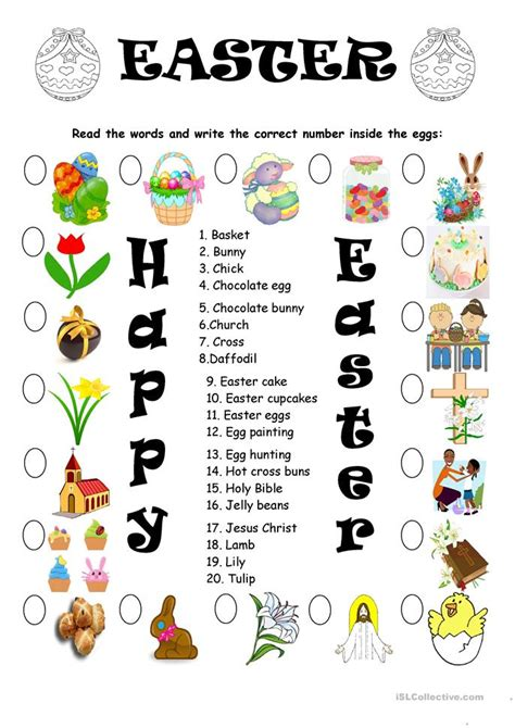 easter vocabulary matching worksheet free esl printable worksheets