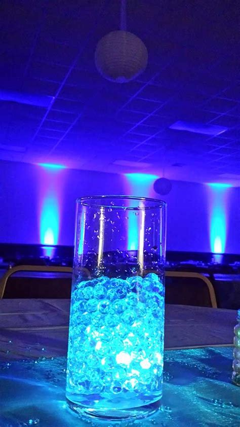blue uplighting iowa lighted centerpieces quinceanera party sweet