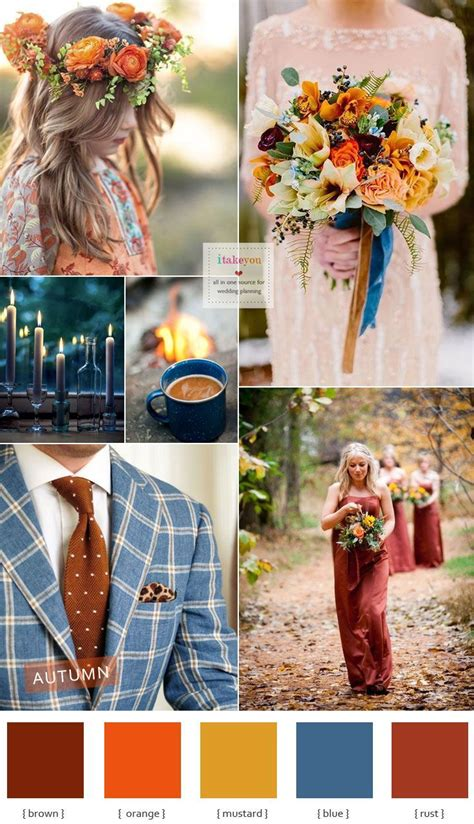 autumn colours wedding theme blue brown mustard orange