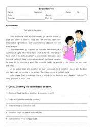 evaluation test year 1 english esl worksheet dipper