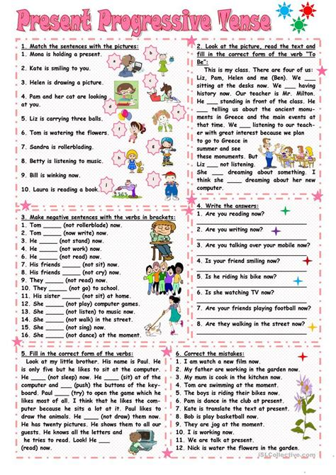 present progressive tense worksheet free esl printable worksheets