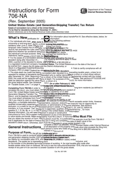 instructions form 706 na united states estate generation