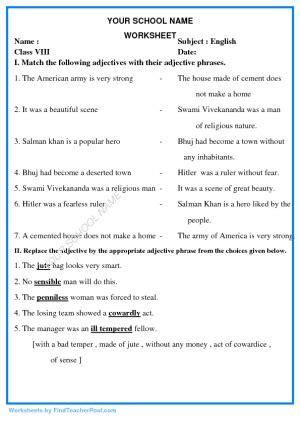 worksheets std viii find teacher post worksheets