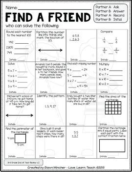 year activities math review grade 3 concepts love