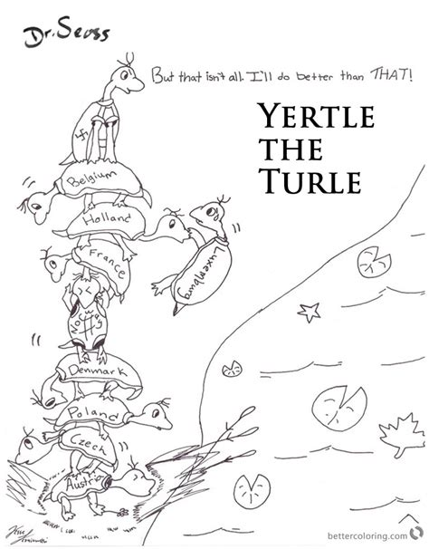 dr seuss yertle turtle coloring pages lineart free