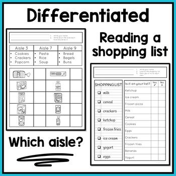 life skills worksheets special education autism grocery store
