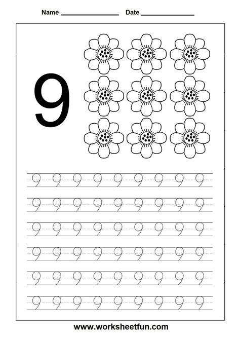 number tracing worksheet 9 homeschooling number tracing pinterest