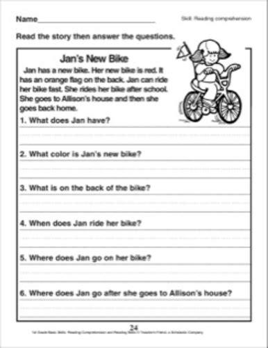 english comprehension worksheet kindergarten grade 1 rbi 1976