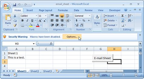 ms excel 2007 email active worksheet