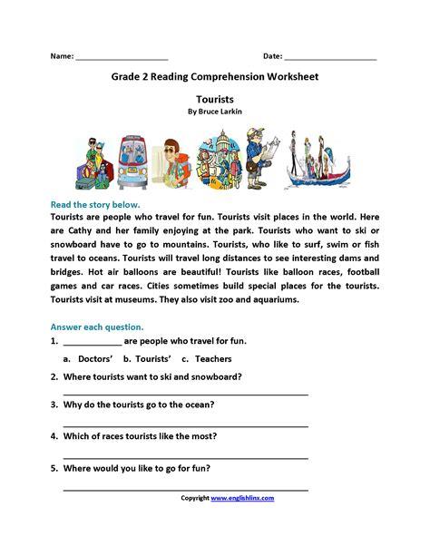tourists grade reading worksheets reading worksheets reading comprehension