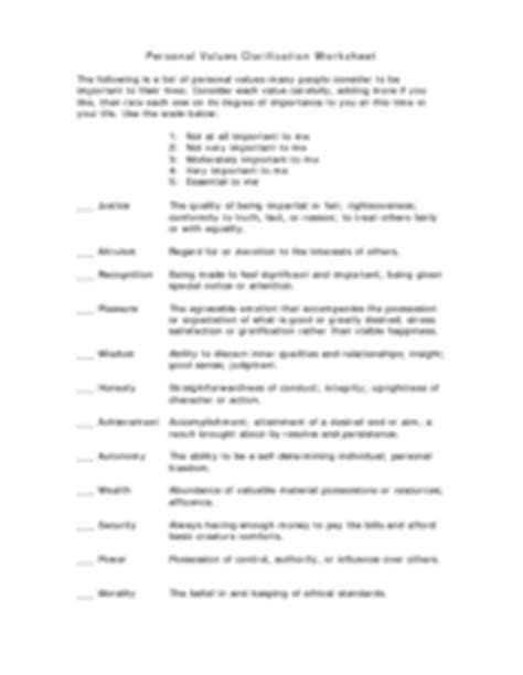 personal values clarification worksheet worksheet 7th 12th grade