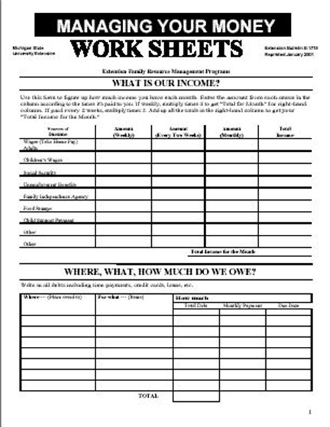 managing money worksheets paper budgeting worksheets budgeting monthly