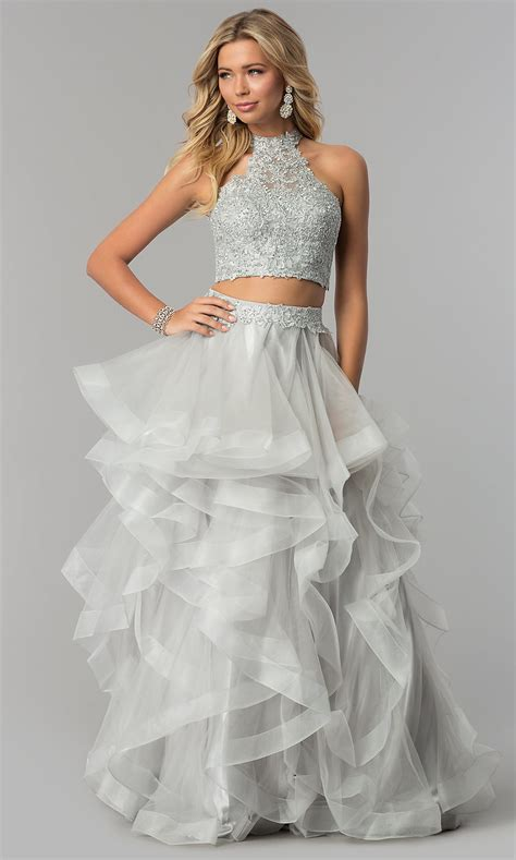 tiered tulle long piece prom dress promgirl