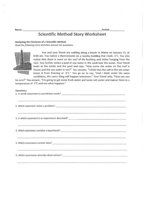 scientific method story worksheet printable download