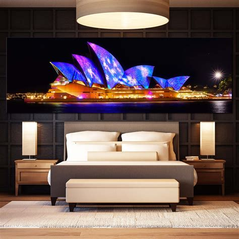 opera house canvas print colourful city light water