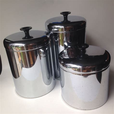 vintage pantry queen set 3 stainless canisters 1950