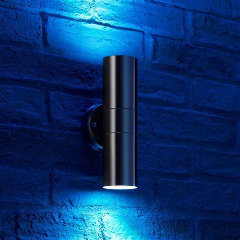 auraglow stainless steel colour changing outdoor wall light