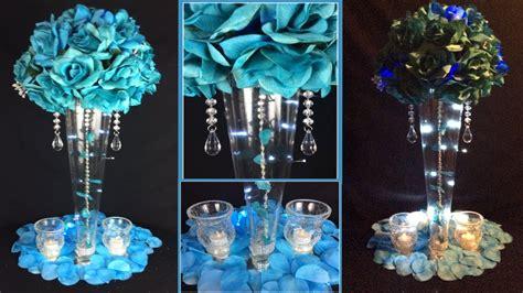 turquoise tall lit glamorous wedding centerpiece 99 cent