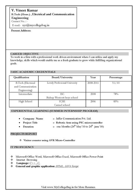 resume format freshers engineers ece world reference