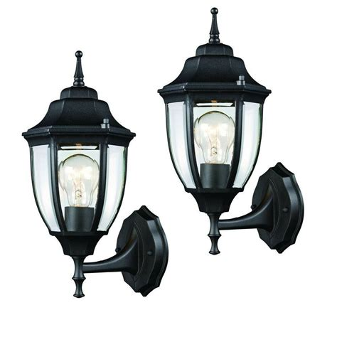 2 pack black outdoor wall lantern mounted exterior
