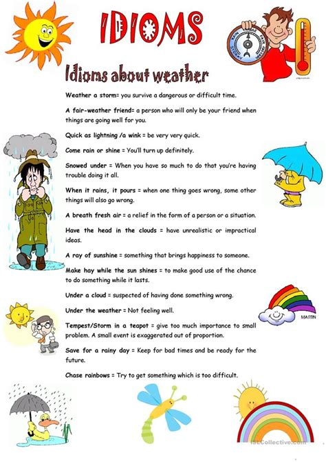 idioms weather worksheet free esl printable worksheets teachers