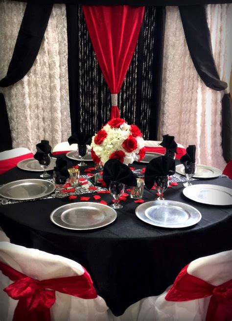 red black white table matching backdrop red black