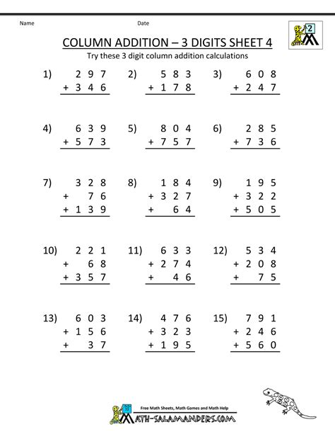 free printable addition worksheets column addition 3 digits