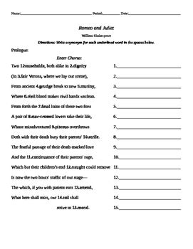 romeo juliet prologue worksheet english married math tpt
